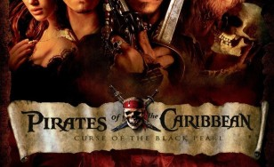 "Poster for the movie ""Pirates of the Caribbean: The Curse of the Black Pearl"""